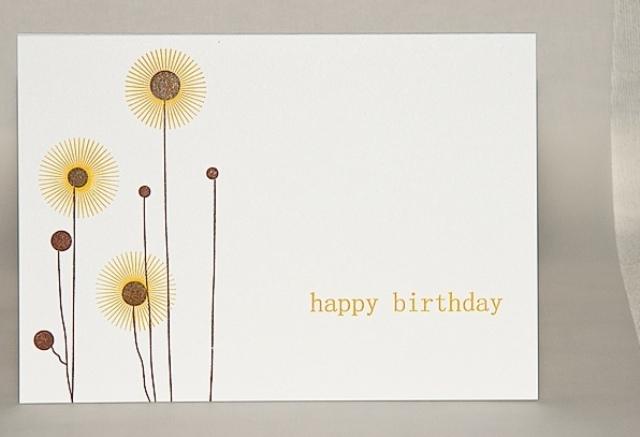 "Glückwunschkarte ""Happy Birthday"" gelb-braun"