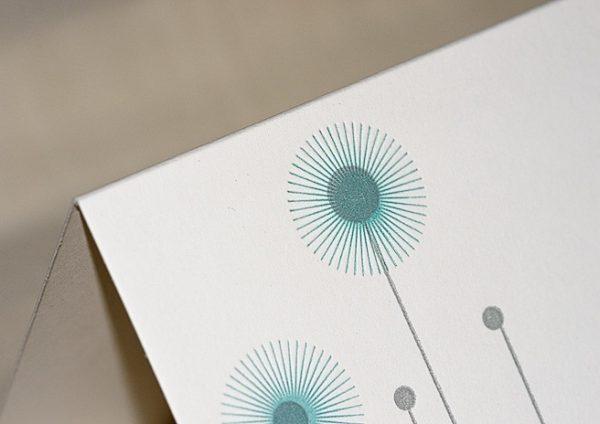 Klappkarte Letterpress grau-blau Detail 2
