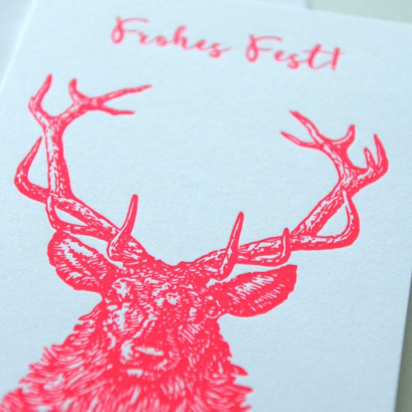 Weihnachtskarte Hirsch Letterpress