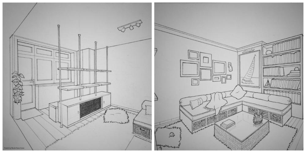 Interiorlösung für Privatwohnung, Skizze: Nicole Sanz Crane